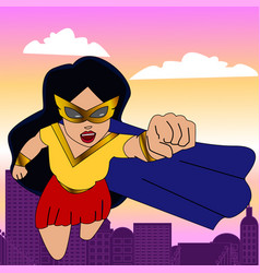 Superhero woman cartoon vector
