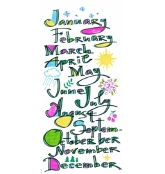 The months of the year pattern colored hand drawn vector image