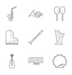 Tools for music icons set outline style vector