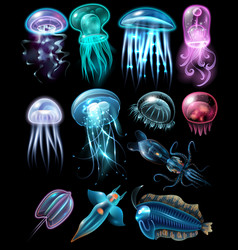 underwater animals icon set vector image vector image