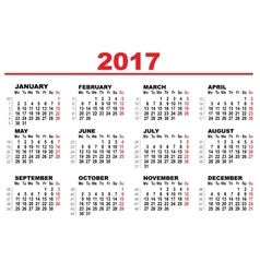 Wall Calendar 2017 First day Monday vector image vector image