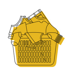 Yellow watercolor silhouette of laundry basket vector