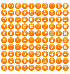 100 education icons set orange vector image vector image