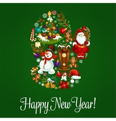 Happy new year greeting poster in mitten shape vector