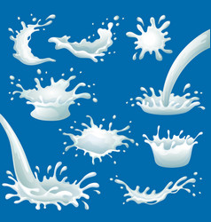 cartoon milk blots and splashes set vector image