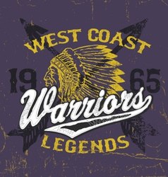 Athletic style warriors apparel design vector