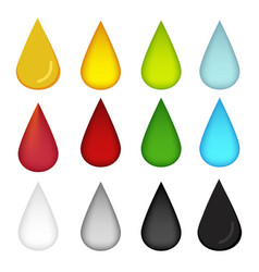 Water drop in many color oil blood water milk and vector