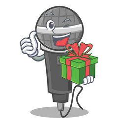 With gift microphone cartoon character design vector