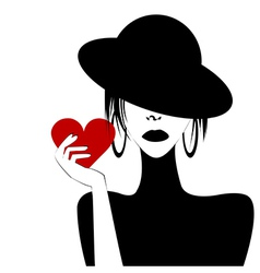 Sexy woman portrait holding a heart vector