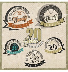 Vintage 20 anniversary collection vector
