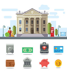 Bank building cityscape vector