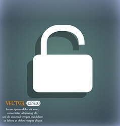 Open padlock icon symbol on the blue-green vector