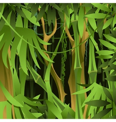 Background of green bamboo forest with lianas vector