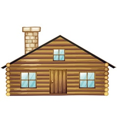 Wooden house with chimney vector