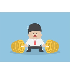 Businessman trying hard to lifting up barbell with vector
