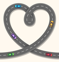 Seamless heart road with cars on beige vector