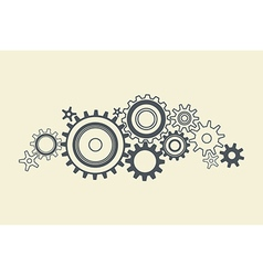 Connected cogs gears vector