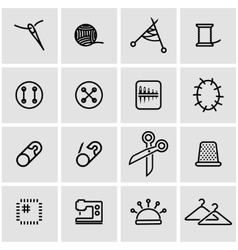 Line sewing icon set vector