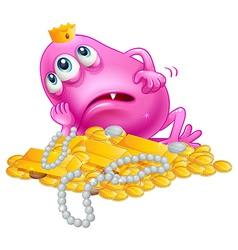 A lucky pink monster lying with the treasures vector