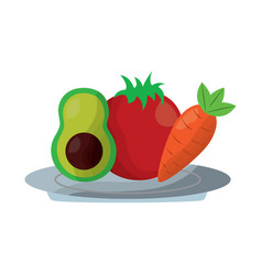 Avocado tomato and carrot food in plate vector