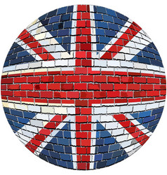 Ball with great britain flag in brick style vector