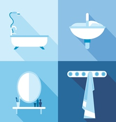 Bath icons set in outlines Digital image vector image