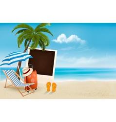 Beach with a palm tree a photograph and a beach vector