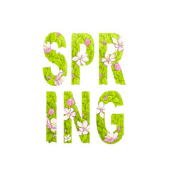 Beautiful inscription spring from leaves vector