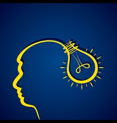 Business idea concept with head and light bulb vector image