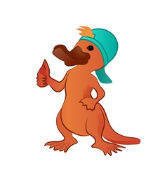 Cartoon platypus thumb up character vector