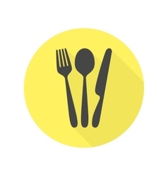 Cutlery icon with long shadow vector