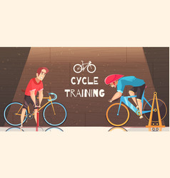 Cycle racing training cartoon vector