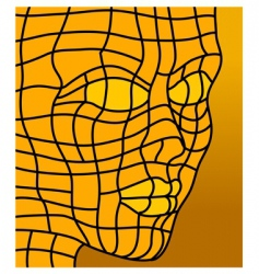 face in orange vector image vector image