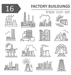 Factory buildings icon set Thin line icon design vector image vector image