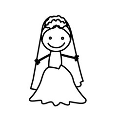 Figure bride with her dress icon vector