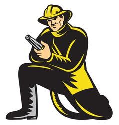 Fireman firefighter fire hose vector