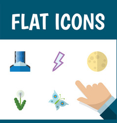 Flat icon ecology set of floral cascade lunar vector