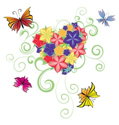 Flowers and butterflies heart vector