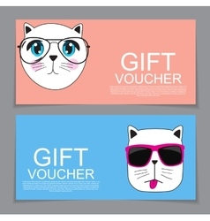 Gift voucher template with cute hand drawn cat vector