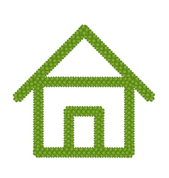 Green Four Leaf Clover of Home Icon vector image