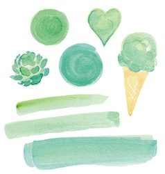 Green watercolor paint design elements set vector