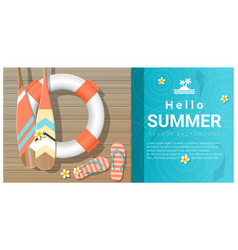Hello summer background with wooden pier vector