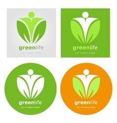 Logos set vegetarian vegan organic food diet vector image vector image