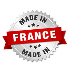 made in France silver badge with red ribbon vector image