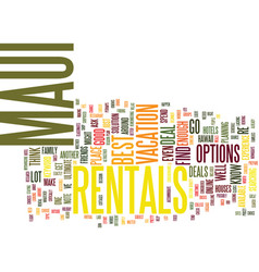 Maui rentals text background word cloud concept vector