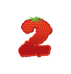 Number 2 strawberry font red berry lettering two vector