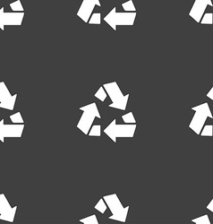 Recycle icon sign Seamless pattern on a gray vector image