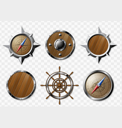 set of steel and wooden nautical elements vector image