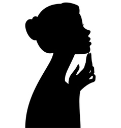 Silhouette portrait of a girl in profile isolated vector image