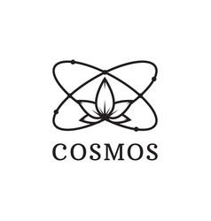 Simple black icon of atom cosmos logo vector